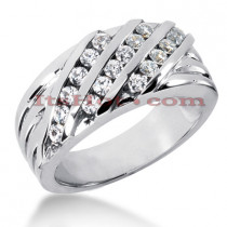 14K Gold Men's Diamond Wedding Ring 0.72ct