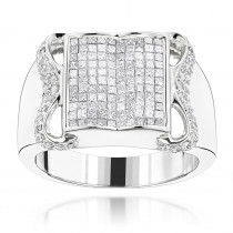 14K Gold Mens Round Princess Cut Diamond Ring 1.77ct