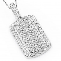 Luxurman 14k Gold Mini Diamond Dog Tag Pendant w VS Diamonds 0.7ct