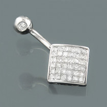 14K Gold Navel Ring with Diamonds 0.83ct