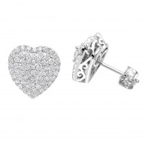 14k Gold Pave Diamond Heart Earrings for Women 1 Carat Diamond Studs