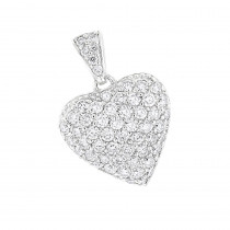 14k Gold Pave Diamond Heart Pendant 2ct