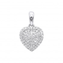 14K Gold Pave Diamond Heart Pendant for Women .5ct by Luxurman