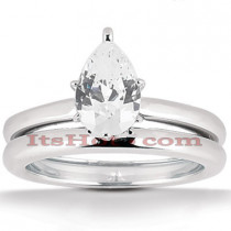14K Gold Pear Cut Engagement Ring Set 0.75ct