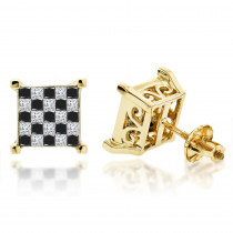 14K Gold Princess Cut Black Diamond Earrings 1.31ct