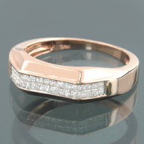 14K Gold Princess Cut Diamond Band Ring 0.60ct