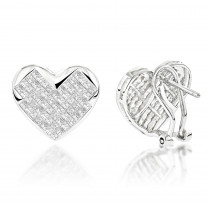 14K Gold Princess Cut Diamond Heart Earrings for Women 2 carats
