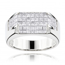 14K Gold Princess Cut Diamond Mens Ring Band 3.5ct