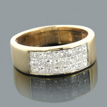 14K Gold Princess Cut Invisible Diamond Band 1.20ct