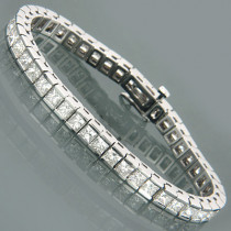 14K Gold Princess Diamond Tennis Bracelet 13.55ct