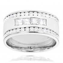 14K Gold Princess Round Diamond Mens Ring Comfort Fit Diamond Band 2.15ct