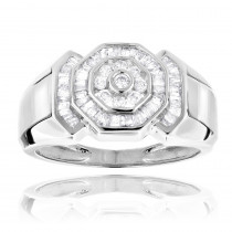 14K Gold Round and Baguette Diamond Mens Ring 0.6ct