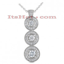 14K Gold Round Diamond 3 Circle Pendant 1.24ct