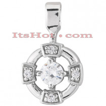 14K Gold Round Diamond Circle Pendant 0.19ct