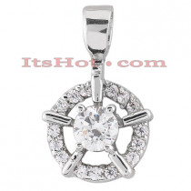 14K Gold Round Diamond Circle Pendant 0.50ct