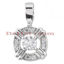 14K Gold Round Diamond Circular Pendant 0.50ct