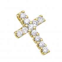 14K Gold Round Diamond cross necklace 0.33ct