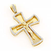 14K Gold Round Diamond cross necklace 1.2ct