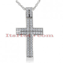 14K Gold Round Diamond cross necklace 2.70ct