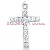14K Gold Round Diamond Cross Pendant 0.48ct