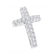 14K Gold Round Diamond Cross Pendant 1.20ct