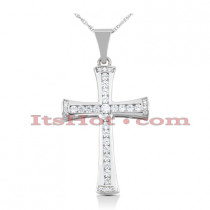 14K Gold Round Diamond Cross Pendant 1.27ct