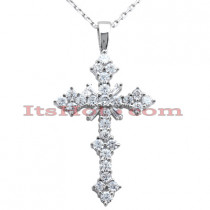 14K Gold Round Diamond Cross Pendant 1.81ct