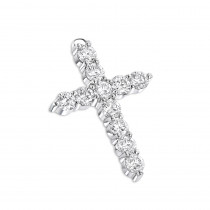14K Gold Round Diamond Cross Pendant 3.30ct