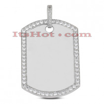 14K Gold Round Diamond Dog Tag Pendant 1.36ct
