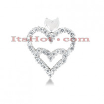 14k Gold Round Diamond Double Heart Pendant 1.23ct
