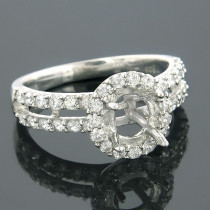 Halo 14K Gold Round Diamond Engagement Ring Setting 1.05ct