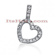 14k Gold Round Diamond Floating Heart Pendant 0.58ct