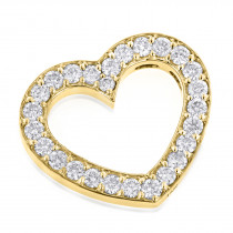 14K Gold Round Diamond Floating Heart Pendant 1.25ct
