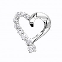 14k Gold Round Diamond Floating Heart Pendant 1.50ct
