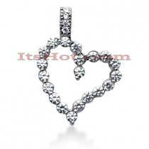 14k Gold Round Diamond Floating Heart Pendant 2.12ct