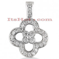14K Gold Round Diamond Floral Pendant 0.52ct