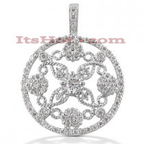 14K Gold Round Diamond Floral Pendant 1.17ct