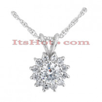 14K Gold Round Diamond Flower Pendant 0.74ct