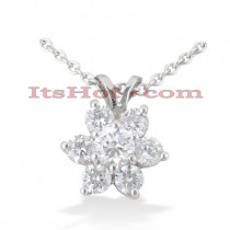 14K Gold Round Diamond Flower Pendant 0.80ct