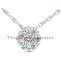 14K Gold Round Diamond Flower Pendant 1.05ct
