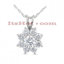 14K Gold Round Diamond Flower Pendant 1.30ct