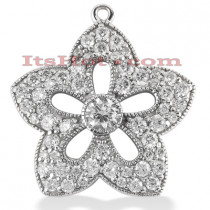14K Gold Round Diamond Flower Pendant 2.05ct