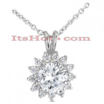 14K Gold Round Diamond Flower Pendant 2.39ct