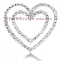 14k Gold Round Diamond Heart in Heart Necklace 1.23ct