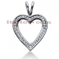 14k Gold Round Diamond Heart Necklace 0.39ct