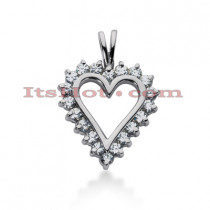 14k Gold Round Diamond Heart Necklace 0.70ct