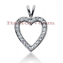 14k Gold Round Diamond Heart Necklace 0.84ct