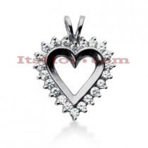 14k Gold Round Diamond Heart Necklace 0.88ct
