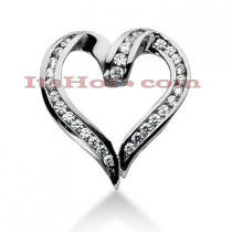 14k Gold Round Diamond Heart Necklace 1.20ct