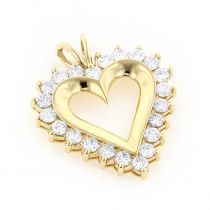 14k Gold Round Diamond Heart Necklace 2.64ct